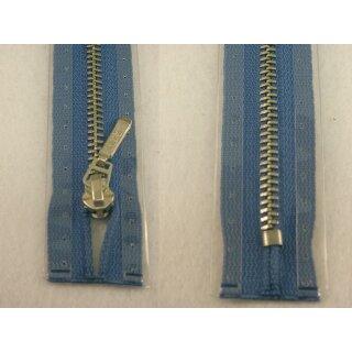 Taschen und Pulli RV/ Metallprofil silber/ 14 cm/ blau