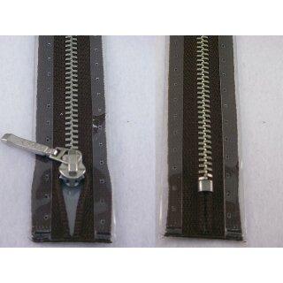 Taschen und Pulli RV/ Metallprofil silber/ 20 cm/ dunkelbraun