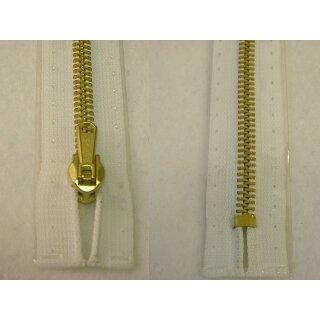Taschen und Pulli RV/Metallprofil gold/ 14 cm/ weiß