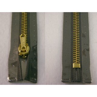 Taschen und Pulli RV/ Metallprofil gold/ 16 cm/ grau