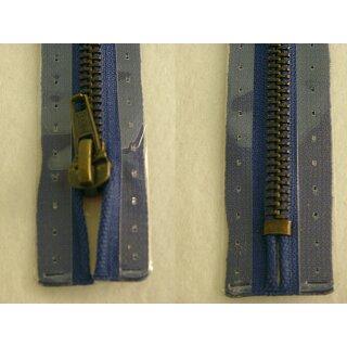 Taschen und Pulli RV/ Metallprofil altmessing/ 20 cm/ blau