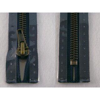 Taschen und Pulli RV/ Metallprofil altmessing/ 20 cm/ marine