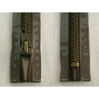 Taschen und Pulli RV/ Metallprofil altmessing/ 20 cm/ dunkelbraun
