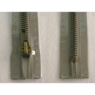 Taschen und Pulli RV/ Metallprofil altmessing/ 18 cm/ grau