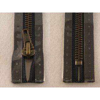 Taschen und Pulli RV/ Metallprofil altmessing/ 18 cm/ schwarz