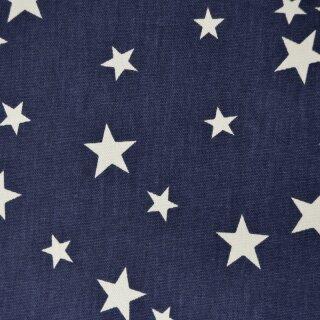 Baumwolldruck schwer Sterne groß marine