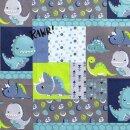 Baumwollstoff Dinowelt blau
